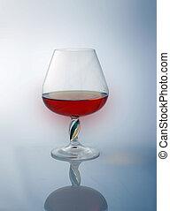 goblet with brandy, reflexion
