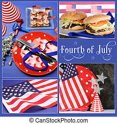 Happy Fourth of July, Independance Day collage of party...