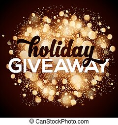 Holiday giveaway card with bokeh effect at dark background -...