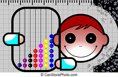 Abacus - Illustration of a boy showing his abacus