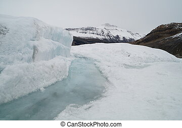 Athabasca Glacier - View on the Athabasca Glacier and...