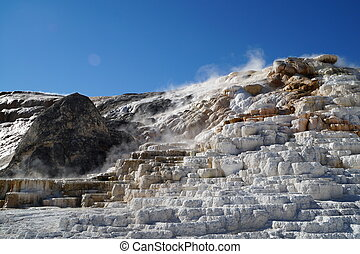 Calcite terraces of Mammoth Hot springs in Yellowstone NP,...