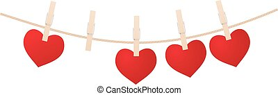 heart clothespins isolated on white background vector...