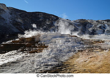 Calcite terraces of Mammoth Hot springs in Yellowstone...