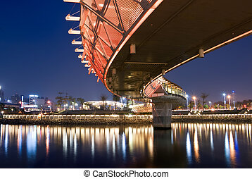 City night with color bridge in Kaohsiung, Taiwan