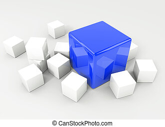 Stand out from the masses - 3d render illustration - blue...