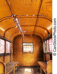 Interior of old train - Interior of old and empty train with...