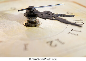 conceptof time - concept of time with the dial of an old...