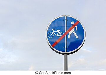 Sign for pedestrians and cyclists - Prohibitory road sign...