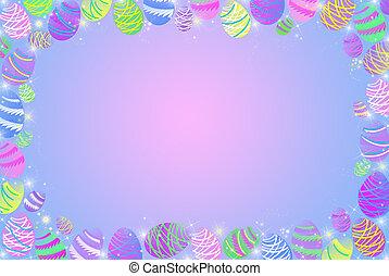 Pretty Eggs - Easter egg border on gradient background.
