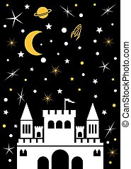 Castle moon, stars, planets