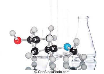 Molecular Structure and Beaker on white background
