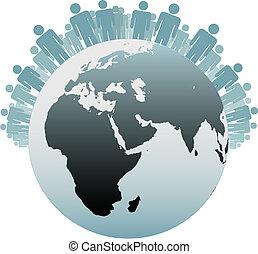 Símbolo, pessoas, população, terra