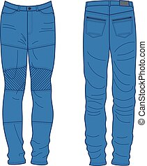 Unisex outlined template jeans front back view, vector...