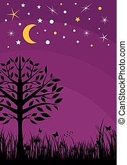 Midnight silhouette tree, grass, moon and stars