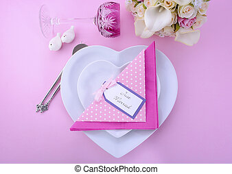Pink Theme Wedding Table Place Setting. - Modern Wedding...