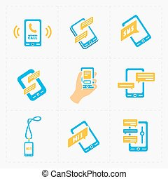 Vector smart phone icons on White