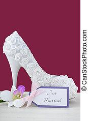 Wedding concept high heel shoe on marsala background. -...