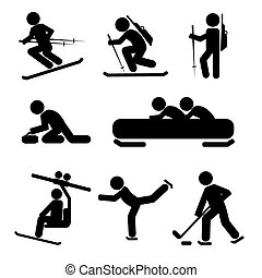Winter Sport Icon Set. - Winter Sport Black Symbol Icon Set...