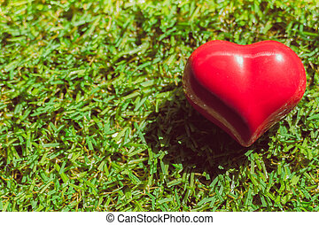closeup of a red heart on the grass, art background