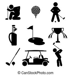 Golf Icon Set - Golf Icon Set Black Symbol Vector...
