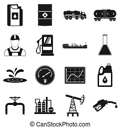 Oil industry simple icons set