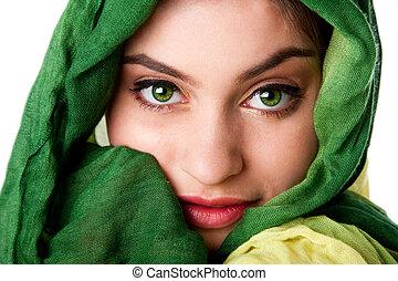 rosto, verde, olhos, echarpe