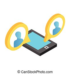 Mobile chat isometric 3d icon
