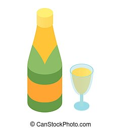Champagne and glass isometric 3d icon