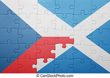 puzzle with the national flag of  czech republic and scotland