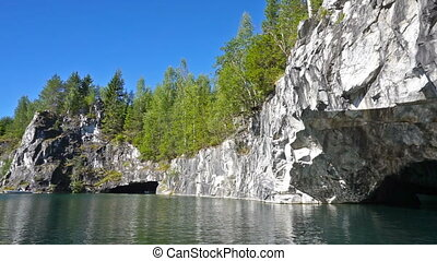 Marble quarry in Ruskeala, Karelia, pan view - Marble quarry...