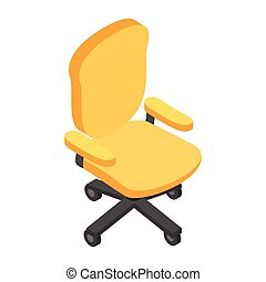 Desk chair isometric 3d icon. Single symbol on a white...