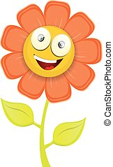 vector spring cartoon flowers isolated on white