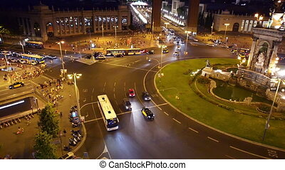 Traffic in downtown Barcelona, night time