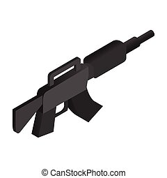 Machine gun isometric 3d icon M16 illustration on a white...