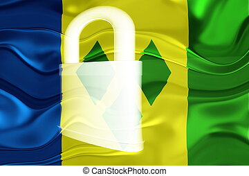 Flag of Saint Vincent and Grenadines wavy security - Flag of...