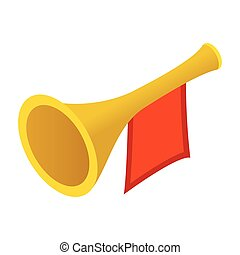 Trumpet with red flag isometric 3d icon isolated on white...