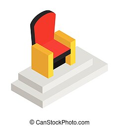 Red throne isometric 3d icon. Illustration of red and gold...