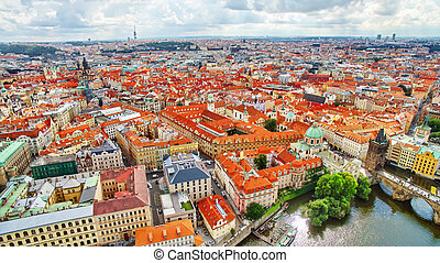 Area Old Town of Prague, over center of the city Czech...