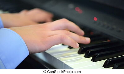 Artist Playing the Piano, close up view