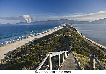 Isthmus connecting North and South Bruny Islands in...