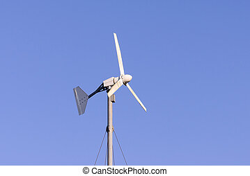Close up of wind turbine for electric generation.