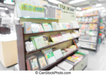 Blurred background of book store on shelf, Book shopping...