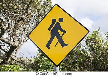 Yellow Treking Sign, Ireland in Rural Setting