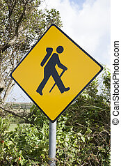 Treking Sign, Ireland - Yellow Treking Sign, Ireland in...