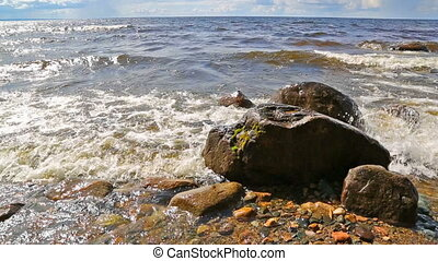 Shore of Onega lake in Karelia, Russia