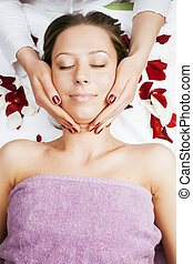 attractive lady getting spa treatment - stock photo...
