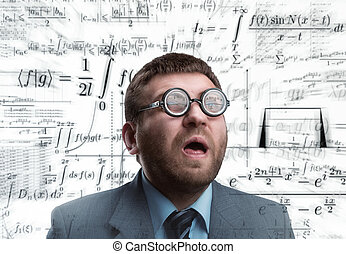 Businessman in glasses - Professor in glasses thinking over...