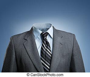 Businessman without head stands over blue background