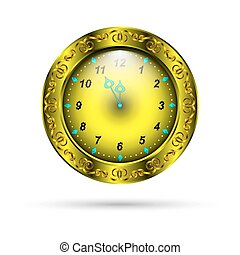 gold clock with curly ornament